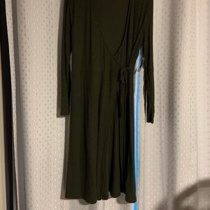 Rib-Knit V-Neck Midi Wrap Dress for Women